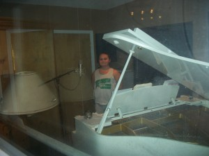 Caroline at Media Music (That piano belonged to Loretta Lynn)
