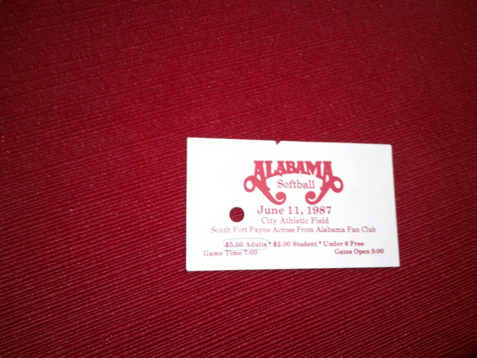 Alabama Softball ticket