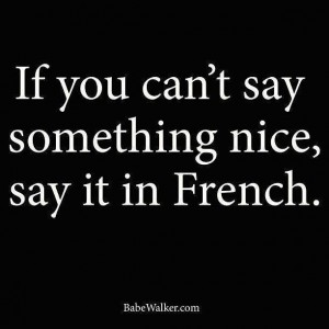 If you cant say nice say it in french