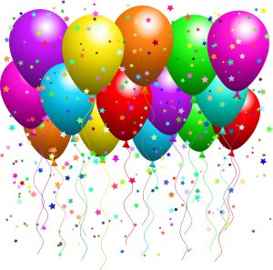 Royalty-free clipart picture of a bunch of floating party balloons with confetti at a party.